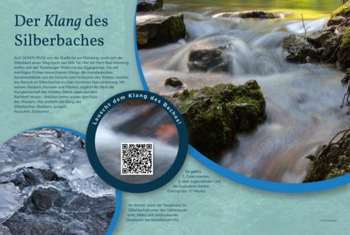 Naturlerntafel zu den Klängen des Silberbaches, der bei Horn-Bad Meinberg an der Grenze zwischen dem Teutoburger-Wald und dem Eggegebirge durch das Silberbachtal fließt.